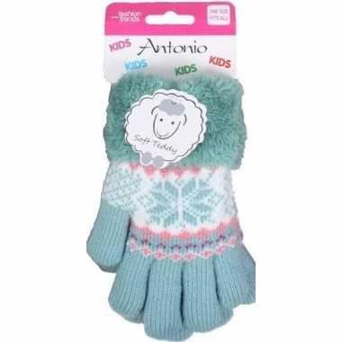 Gebreide handschoenen mint groen met sneeuwster en nep bont voor meis