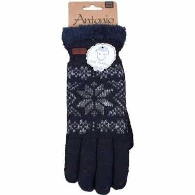 Gebreide handschoenen navy blauw met sneeuwster voor heren prijs