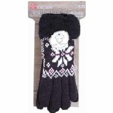 Gebreide handschoenen zwart met sneeuwster en nep bont voor dames pri