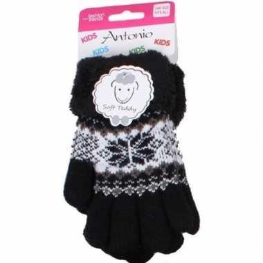Gebreide handschoenen zwart met sneeuwster en nep bont voor meisjes/k