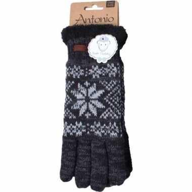 Gebreide handschoenen zwart met sneeuwster voor heren prijs