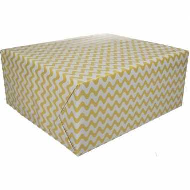 Geel cadeaupapier met grafische print 70 x 200 cm prijs