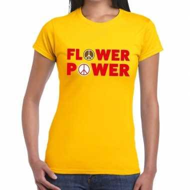 Geel flower power fun t-shirt voor dames prijs