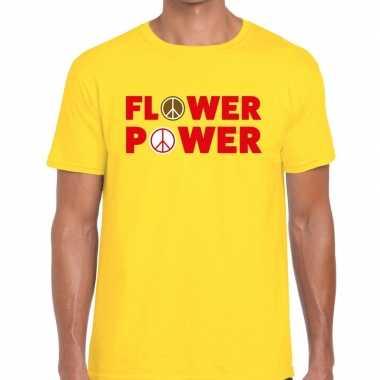 Geel flower power fun t-shirt voor heren prijs