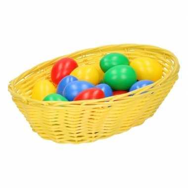 Geel mandje met gekleurde eieren 20 cm prijs