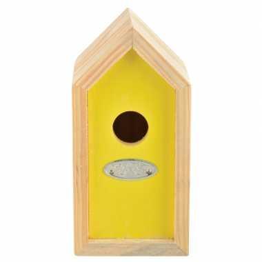 Geel nestkastje voor kleine tuinvogels 10x11x20 cm prijs