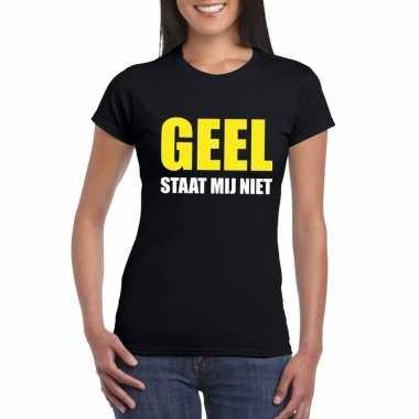 Geel staat mij niet fun t-shirt voor dames zwart prijs