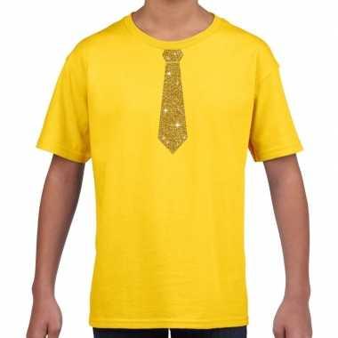 Geel t-shirt met gouden stropdas voor kinderen prijs