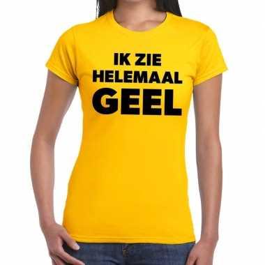 Geel tekst t-shirt ik zie helemaal geel dames prijs