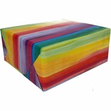 Gekleurd cadeaupapier met gekleurde strepen 70 x 200 cm type 2 prijs
