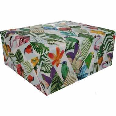 Gekleurd cadeaupapier met papegaaien print 70 x 200 cm prijs