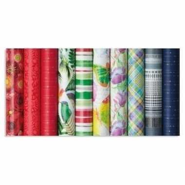Gekleurd cadeaupapier met strepen 70 x 200 cm prijs