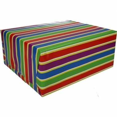 Gekleurd cadeaupapier met strepen 70 x 200 cm type 1 prijs