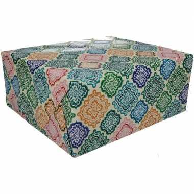 Gekleurd cadeaupapier met strepen 70 x 200 cm type 5 prijs