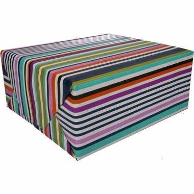 Gekleurd cadeaupapier met strepen 70 x 200 cm type 7 prijs