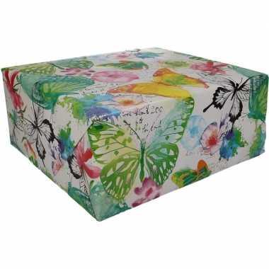 Gekleurd cadeaupapier met vlinders 70 x 200 cm type 8 prijs