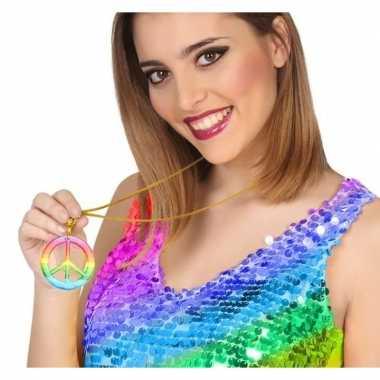 Gekleurde hippie verkleed ketting peace prijs