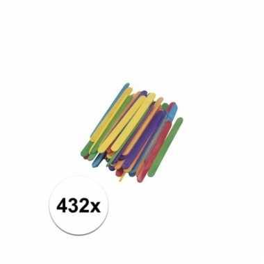 Gekleurde houten knutsel ijsstokjes 432 stuks prijs