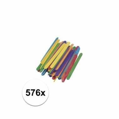 Gekleurde houten knutsel ijsstokjes 578 stuks prijs