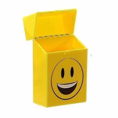 Gele sigarettenbox blije smiley prijs