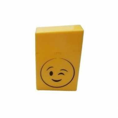 Gele sigarettenbox knipogende smiley prijs