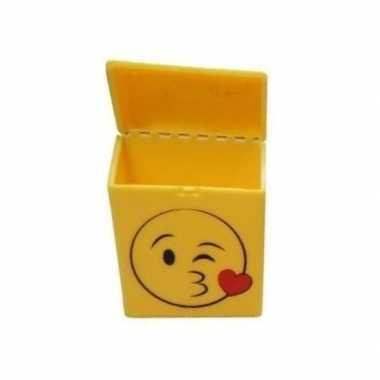 Gele sigarettenbox kussende smiley prijs