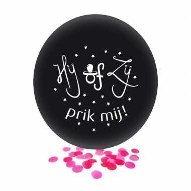 Gender reveal meisje party/feestje confetti ballon zwart 60 cm prijs