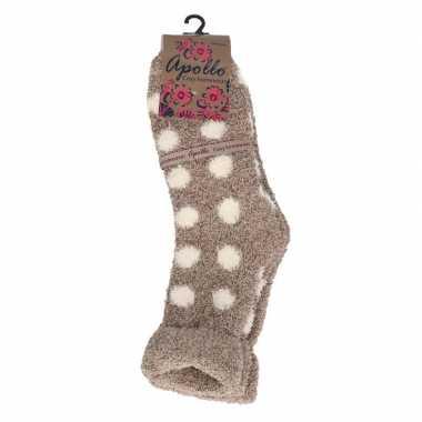 Gestipte huis/bank dames sokken beige prijs