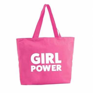 Girl power boodschappentas / strandtas fuchsia roze 47 cm prijs