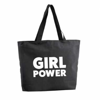 Girl power boodschappentas / strandtas zwart 47 cm prijs
