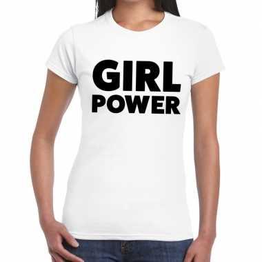 Girl power fun t-shirt voor dames wit prijs