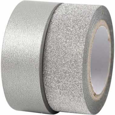 Glitter tape zilver 2 rollen prijs
