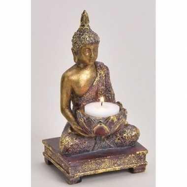 Goud boeddha beeldje met kaarshouder 18 cm prijs