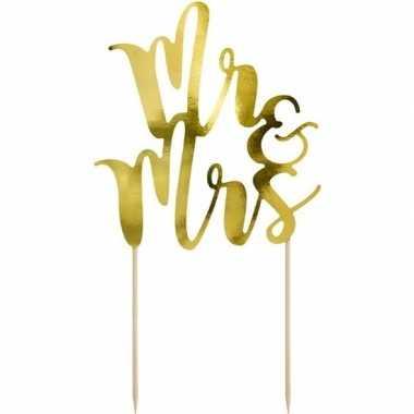 Gouden bruidstaart taarttopper mr & mrs 25 cm prijs