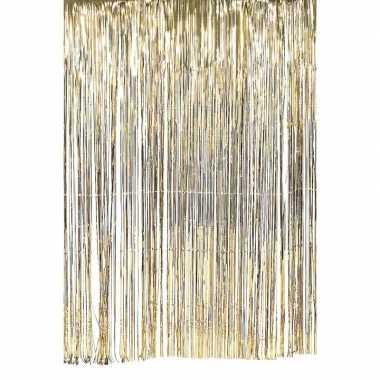 Gouden deurgordijn slierten feest versiering 100 x 200 cm prijs