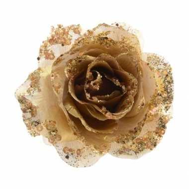 Gouden glitter roos op clip prijs