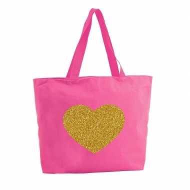 Gouden hart glitter boodschappentas / strandtas fuchsia roze 47 cm pr