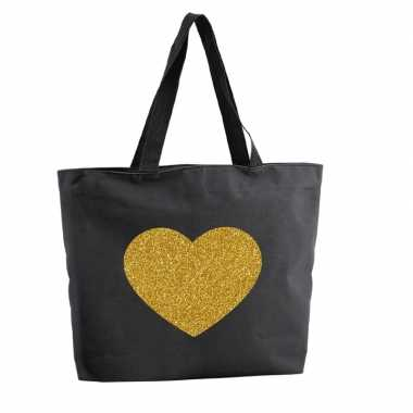 Gouden hart glitter boodschappentas / strandtas zwart 47 cm prijs