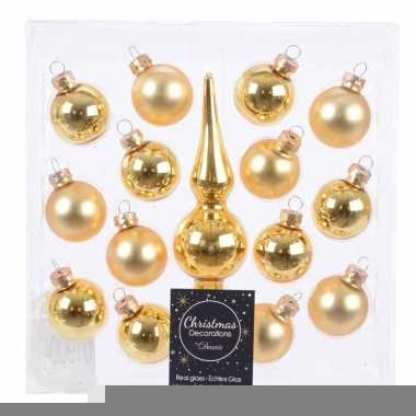 Gouden kerstballen en piek set voor mini kerstboom prijs