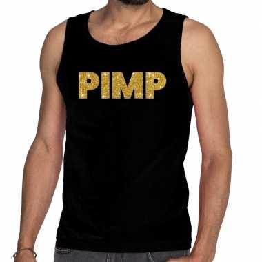 Gouden pimp fun tanktop / mouwloos shirt zwart voor heren prijs