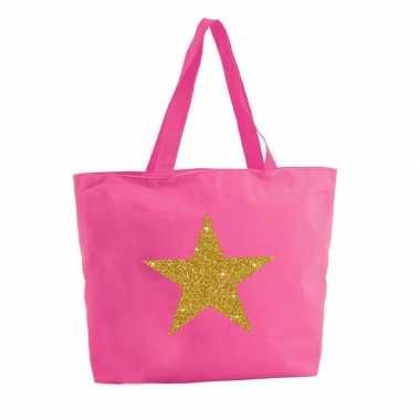 Gouden ster glitter boodschappentas / strandtas fuchsia roze 47 cm pr