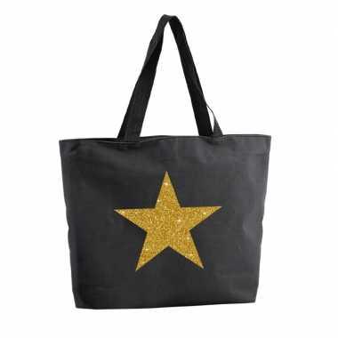 Gouden ster glitter boodschappentas / strandtas zwart 47 cm prijs