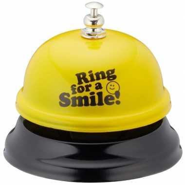 Grappige tafelbel geel ring for a smile 7,5 cm prijs
