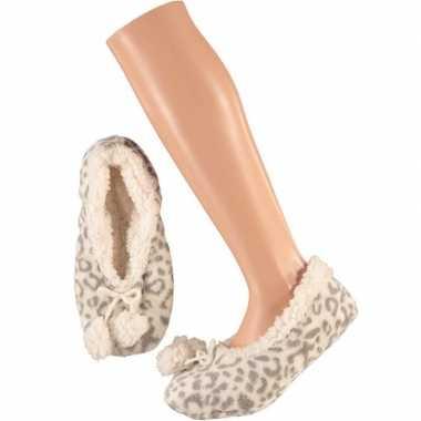 Grijze ballerina dames pantoffels/sloffen met luipaardprint maat 40-4