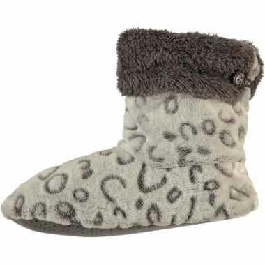 Grijze hoge dames pantoffels/sloffen met luipaardprint en omslag prij