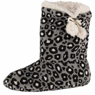 Grijze hoge dames pantoffels/sloffen met luipaardprint prijs