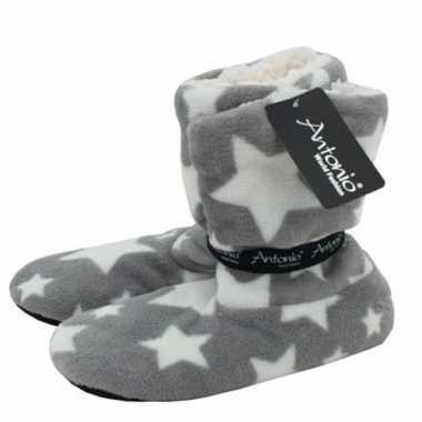 Grijze hoge dames pantoffels/sloffen met sterrenprint prijs