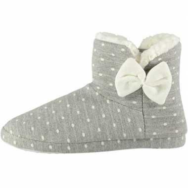 Grijze hoge dames pantoffels/sloffen met stippenprint maat 41-42 prij
