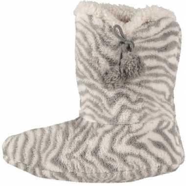 Grijze hoge dames pantoffels/sloffen met zebraprint prijs