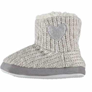 Grijze hoge sloffen/pantoffels zilveren hart voor meisjes maat 27-28